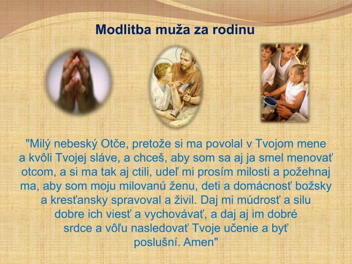 Modlitba muža za rodinu