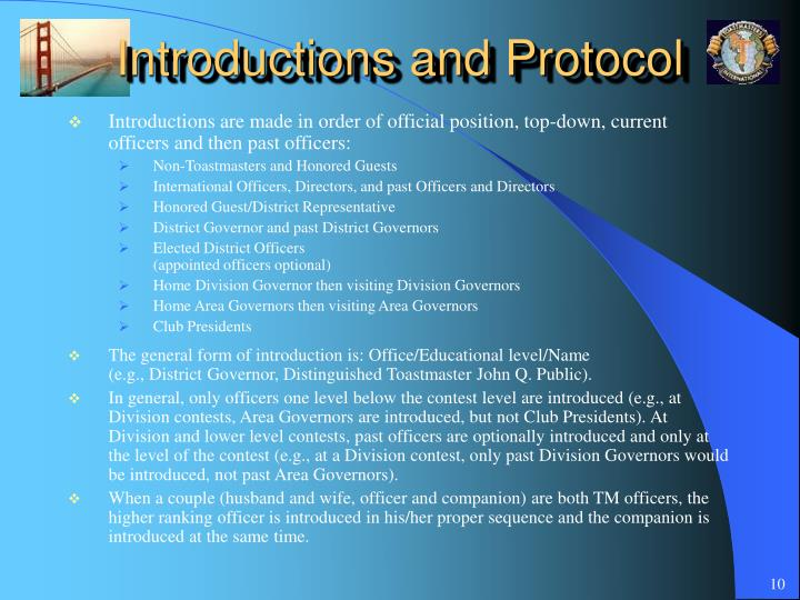 Introductions and Protocol