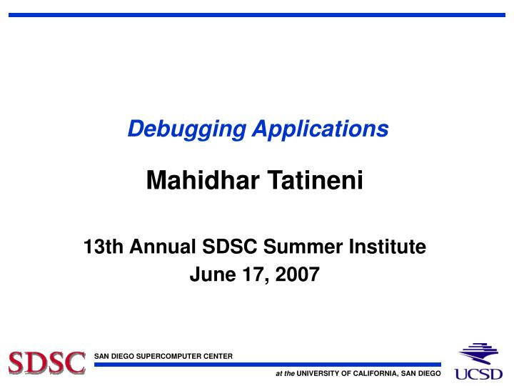 debugging applications n.