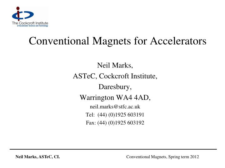 conventional magnets for accelerators n.