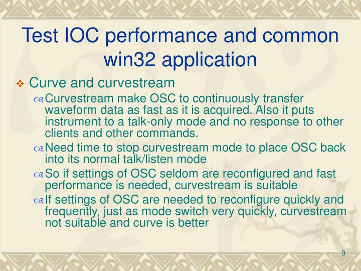 Test IOC performance and common win32 application