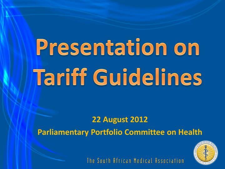 Presentation on tariff guidelines
