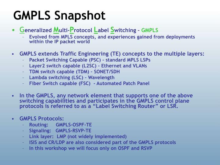GMPLS Snapshot