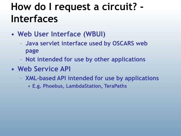 How do I request a circuit? - Interfaces