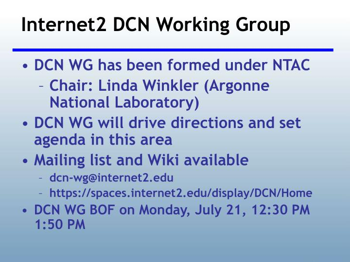 Internet2 DCN Working Group