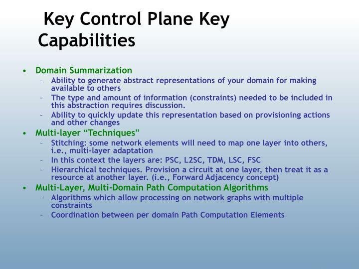 Key Control Plane Key Capabilities