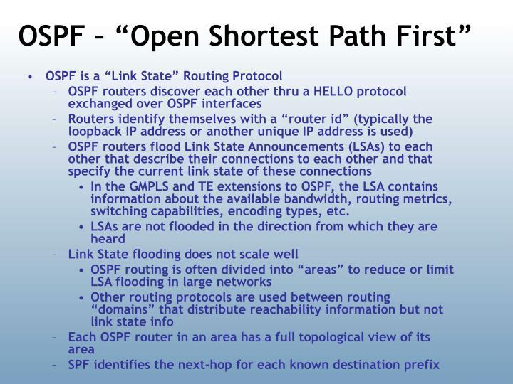 "OSPF – ""Open Shortest Path First"""