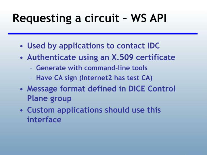 Requesting a circuit – WS API