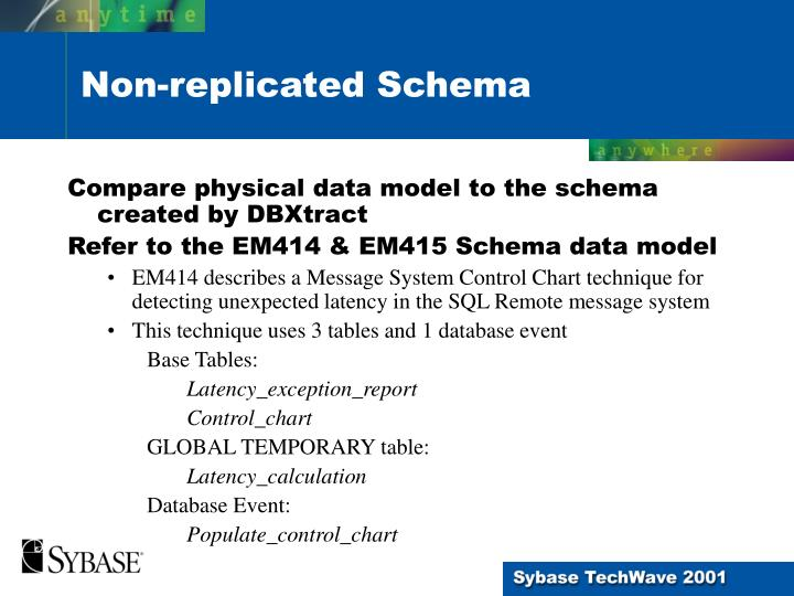 Compare physical data model to the schema created by DBXtract