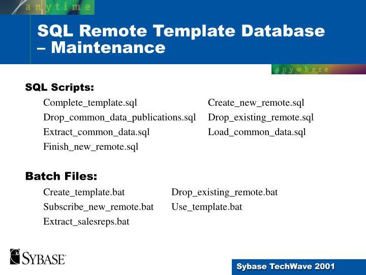 SQL Scripts: