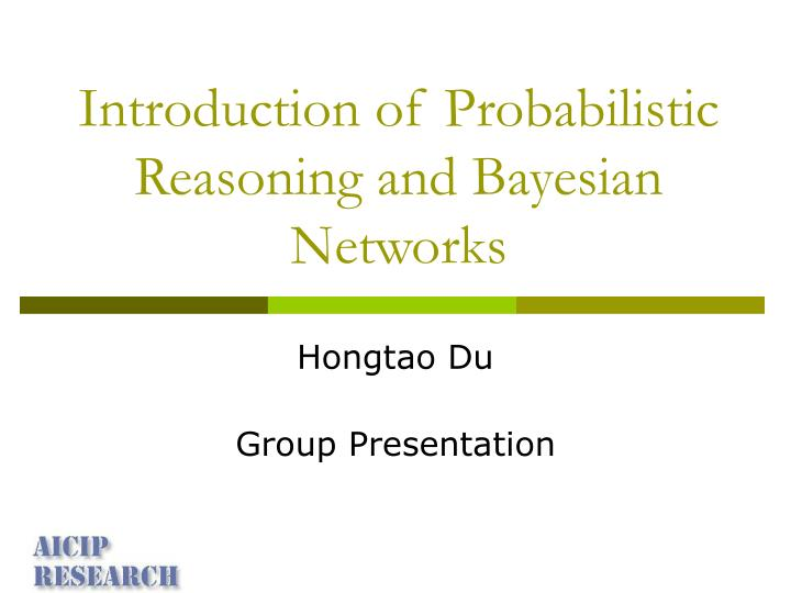 introduction of probabilistic reasoning and bayesian networks n.