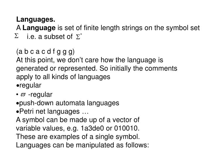 Ppt Languages A Language Is Set Of Finite Length Strings On The
