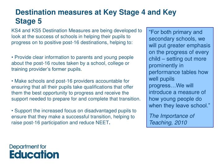 Destination measures at Key Stage 4 and Key Stage 5