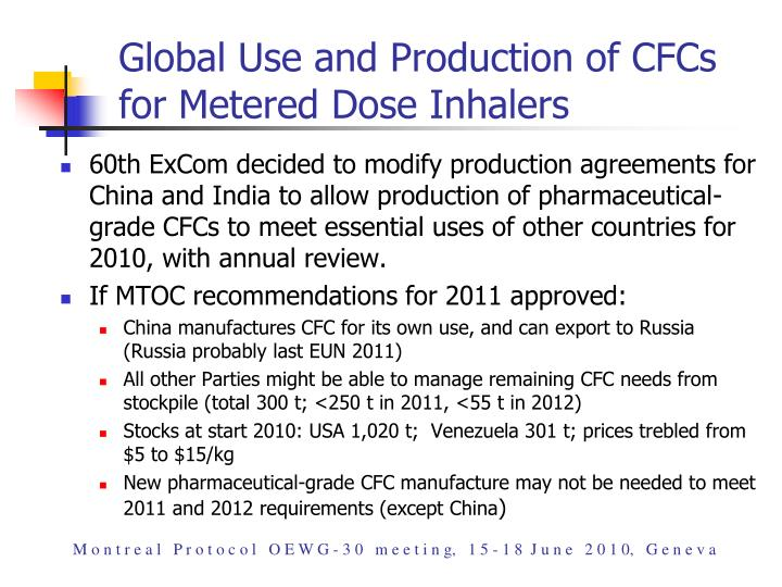 Global Use and Production of CFCs