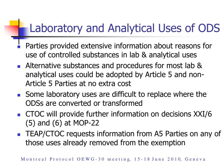 Laboratory and Analytical Uses of ODS