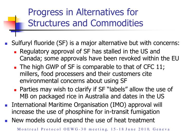 Progress in Alternatives for Structures and Commodities