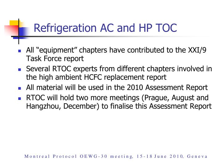 Refrigeration AC and HP TOC