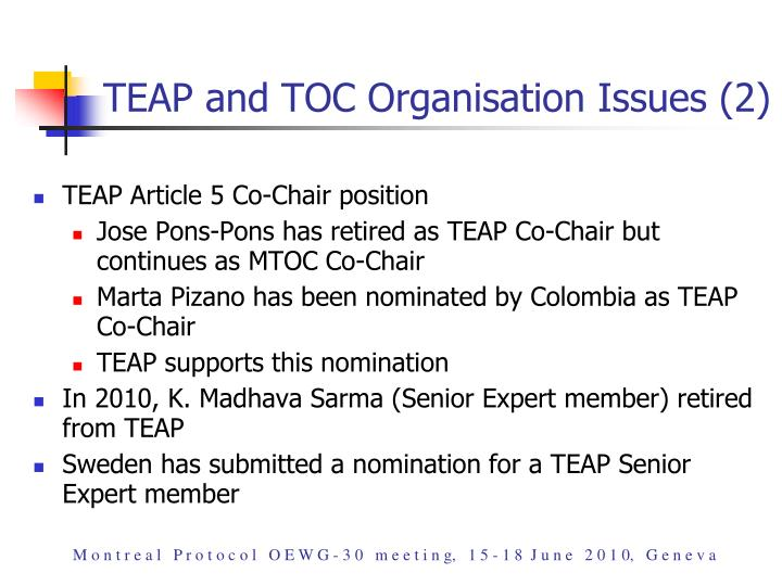 TEAP and TOC Organisation Issues (2)