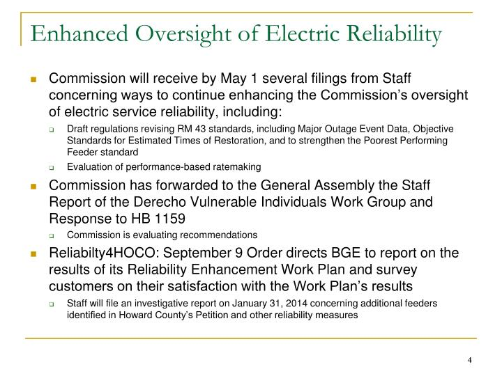 Enhanced Oversight of Electric Reliability