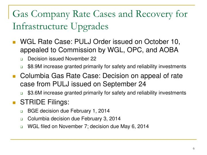 Gas Company Rate Cases and Recovery for Infrastructure Upgrades