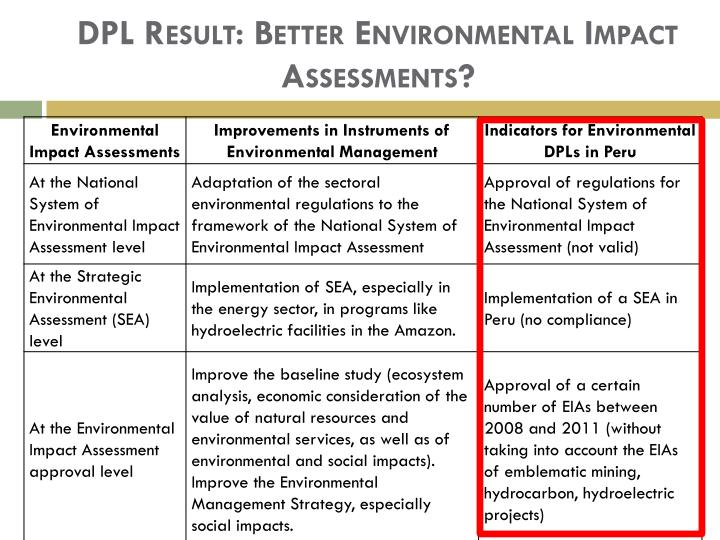 DPL Result: Better Environmental Impact Assessments?