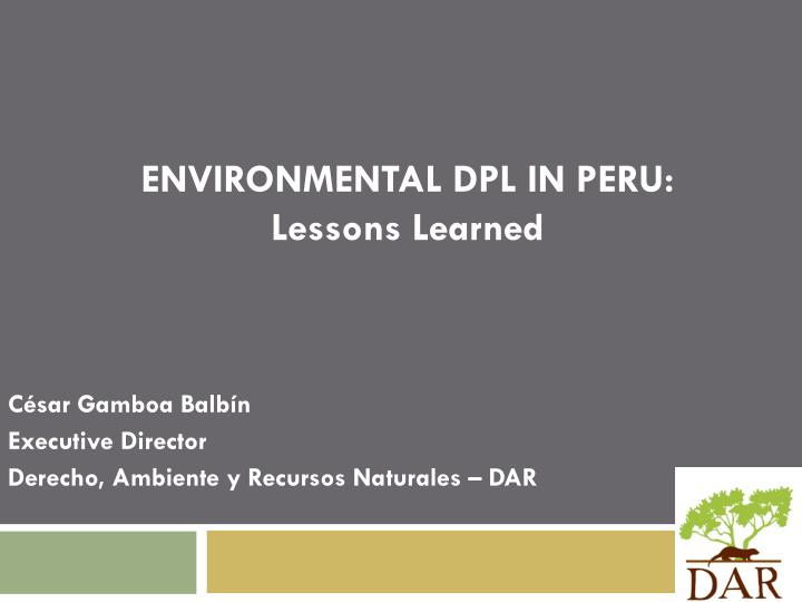 ENVIRONMENTAL DPL IN PERU: