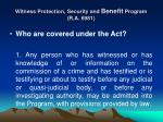 witness protection security and benefit program r a 69811