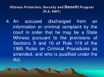 witness protection security and benefit program r a 69814