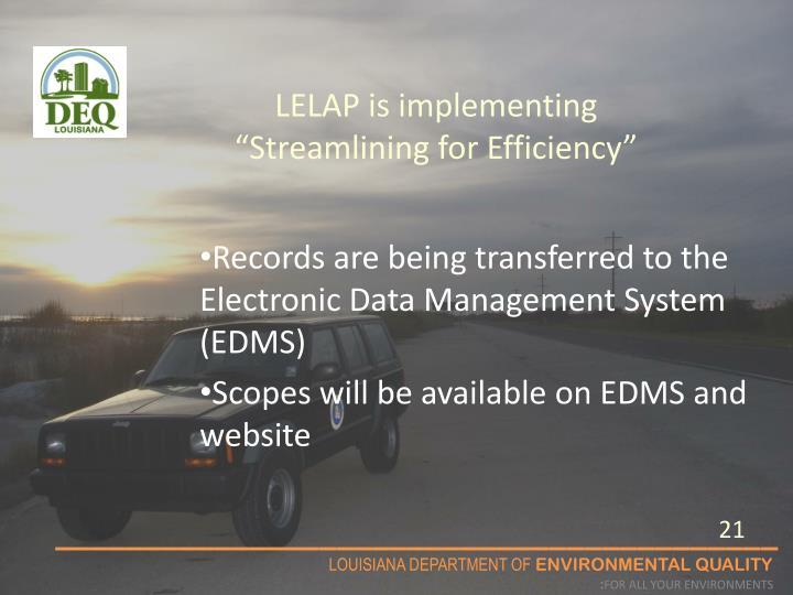 "LELAP is implementing ""Streamlining for Efficiency"""
