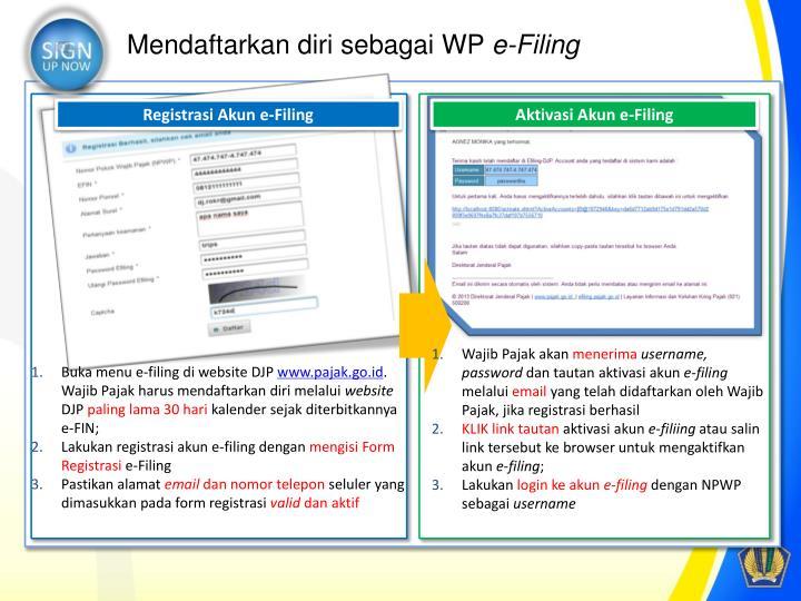 Mendaftarkan diri sebagai WP