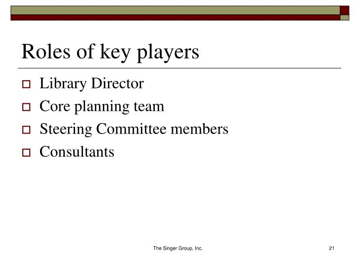 Roles of key players