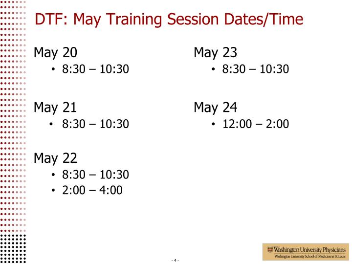 DTF: May Training Session Dates/Time