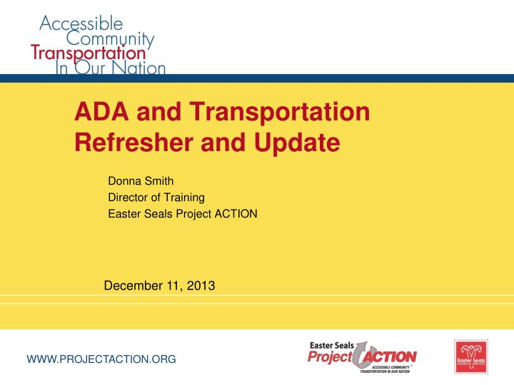 ada and transportation refresher and update n.