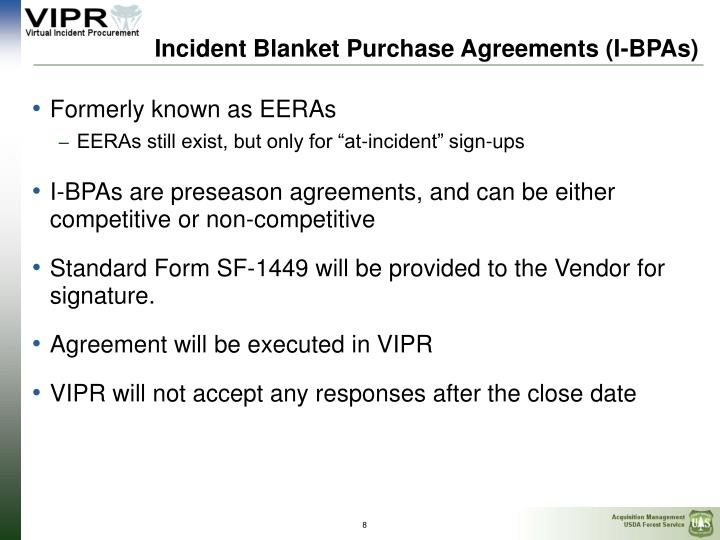 Ppt  Preseason Incident Blanket Purchase Agreements IBpas And