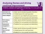 analysing themes and driving continual improvement