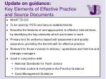 update on guidance key elements of effective practice and source documents