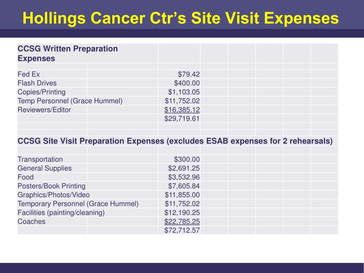 Hollings Cancer Ctr's Site Visit Expenses