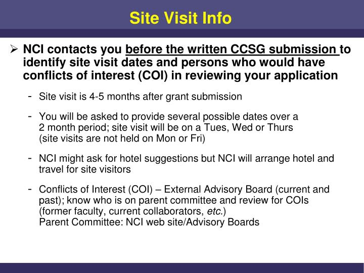 Site visit info