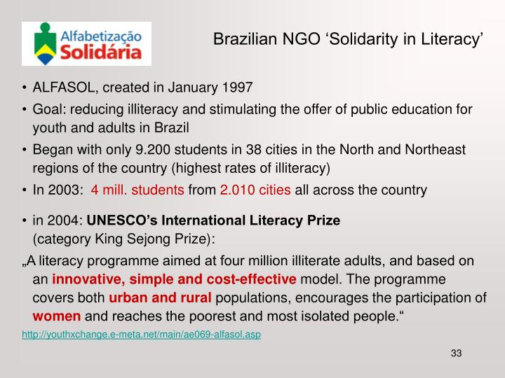 Brazilian NGO 'Solidarity in Literacy'