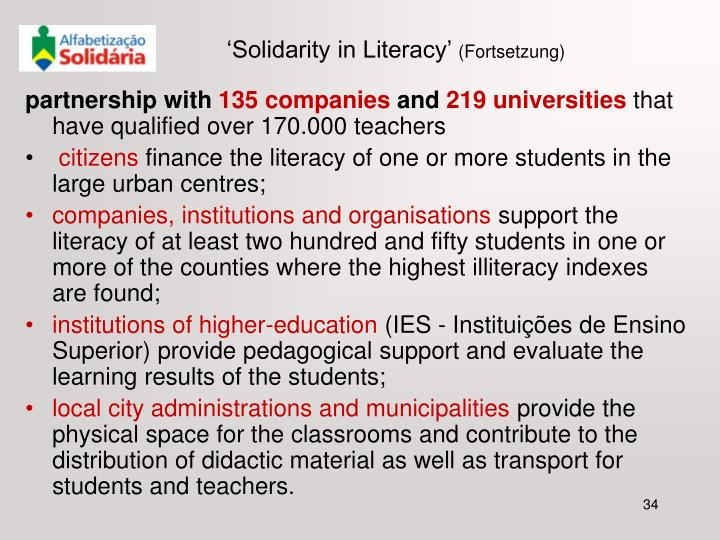 'Solidarity in Literacy'