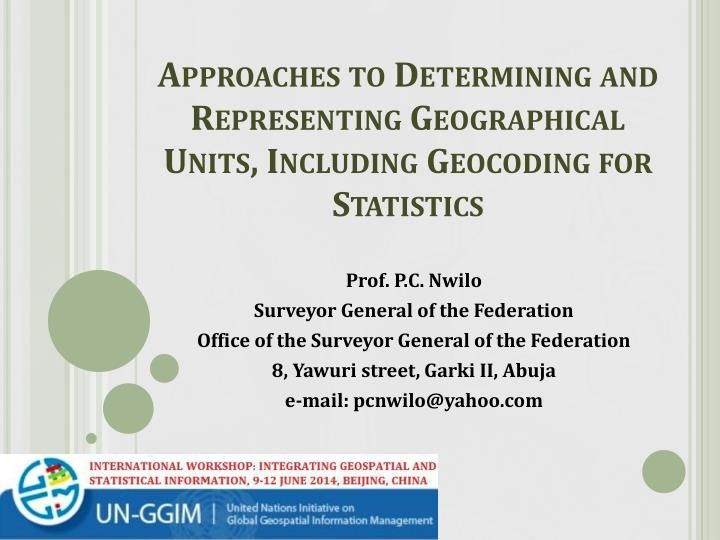 approaches to determining and representing geographical units including geocoding for statistics