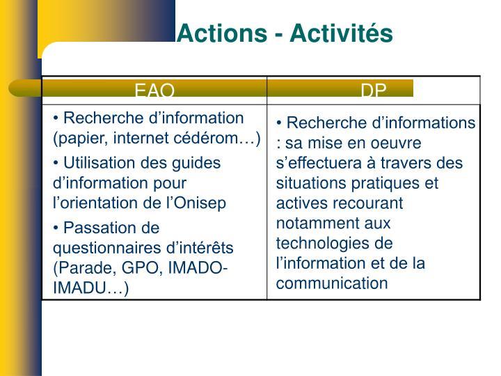 Actions - Activités