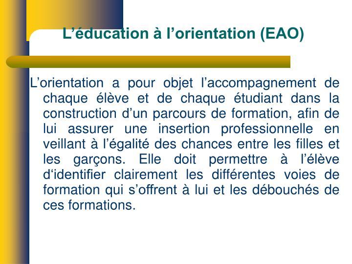 L'éducation à l'orientation (EAO)