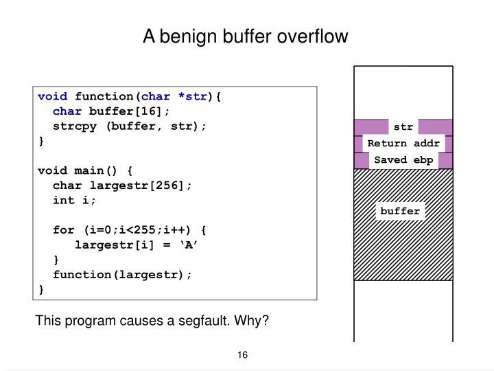 A benign buffer overflow