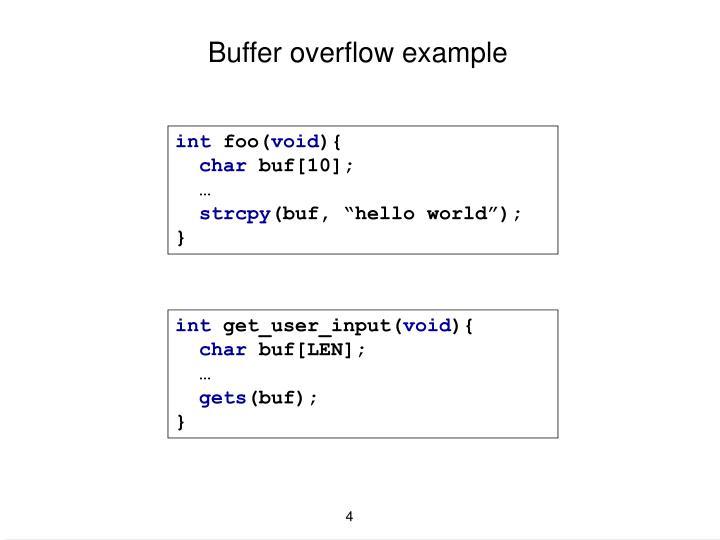 Buffer overflow example