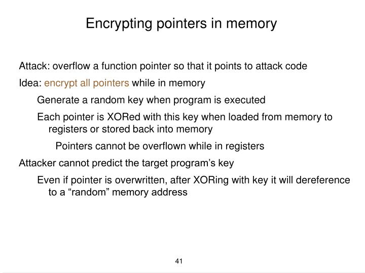 Encrypting pointers in memory