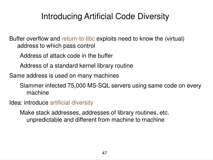 Introducing Artificial Code Diversity
