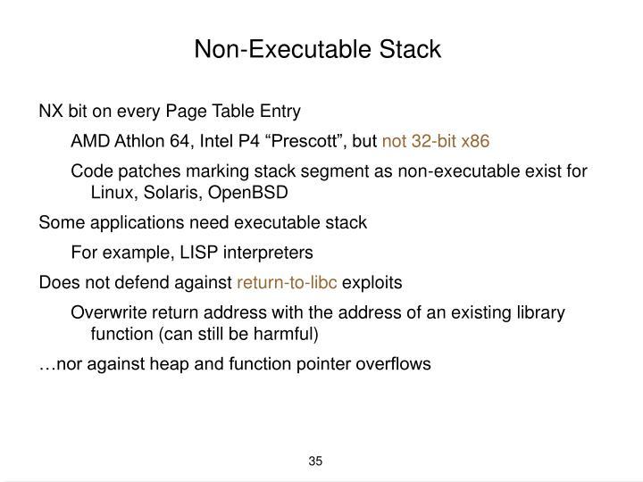 Non-Executable Stack
