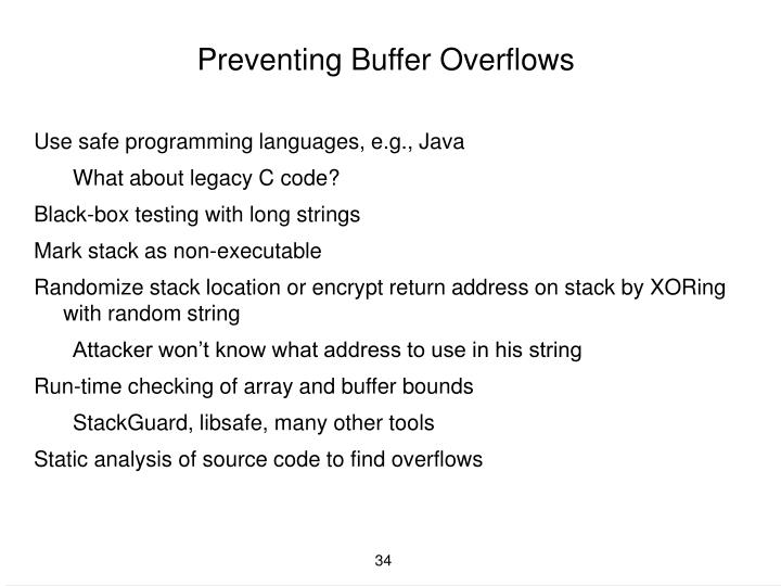 Preventing Buffer Overflows