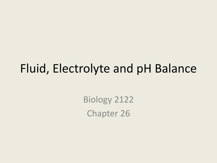 fluid electrolyte and ph balance n.